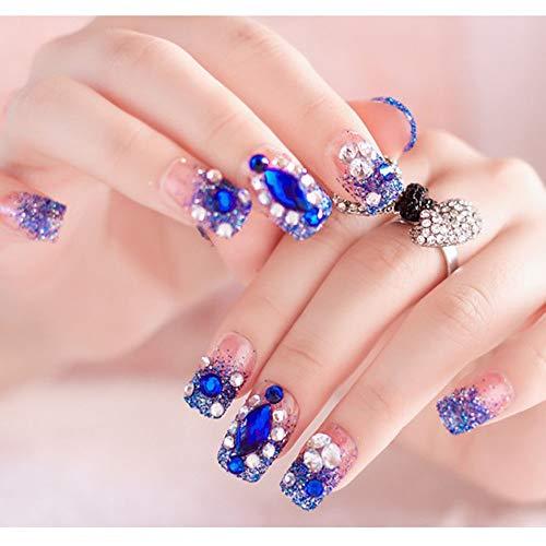 24 Gefälschte Nagelaufkleber - Falsche Nagelaufkleber - Edelsteinpflaster Gefälschte Nägel - Glänzende Braut - Handgemachte Nagelaufkleber (3)