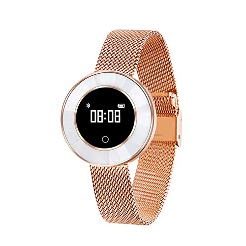er Activity Tracker Uhr Pulsmesser Wasserdichte Bluetooth Weibliche Schrittzähler Blutdruck Dynamik Sport Armband,Goldskin ()