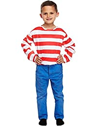 FANCY DRESS CHILD STRIPED JUMPER RED/WHITE MED 7-9YR