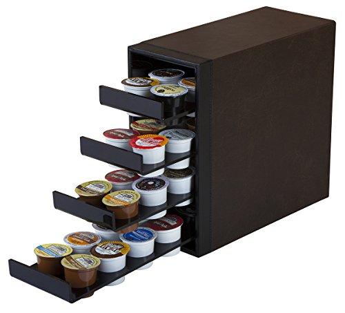 jackcubedesign 40K-cup Halter Organizer Storage Karussell, K Cup Leder-Halterung 4Schublade dunkelbraun mit Acryl Schwarz (30x 27,9x 13,5cm) -mk138