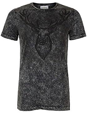 Almsach Herren Herren Trachten T-Shirt Hirsch Black, Black,