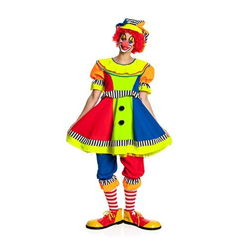 Kostümplanet Clown-Kostüm Damen mit Clown-Mütze Faschings-Kostüm Größe 48/50