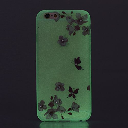 "Apple iPhone 6 Plus/6S Plus 5.5"" Case Silicone - Felfy Ultrathin Slim Soft Gel Mode Silicone Lichtdurchlässig TPU Peinture Rose Motif Fleur de Diamant de Bling Glitter étincelle Strass Cristal Creativ #36"