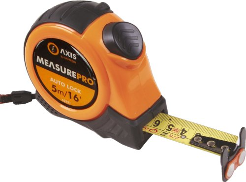 Axis Measure Pro 62951 Doppelseitiges Maßband mit 2Auto-Stop-Verriegelungen und magnetischem Haken, 5m/16Fuß, 25mm (Fuß 25 Maßband)