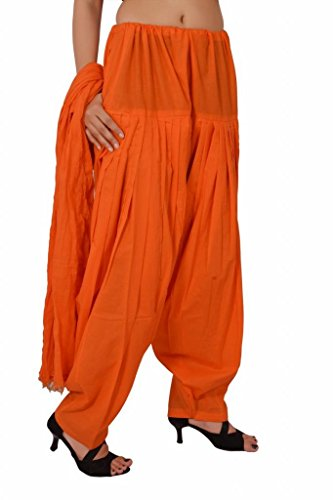 Stylenmart Women Cotton Solid Full Patiala Salwar Dupatta Set (Stmapa078604_Orange_Free Size)
