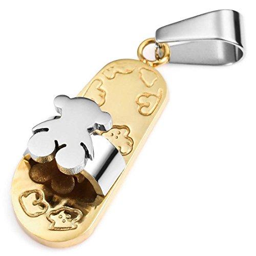 Oso Zapatilla Colgante Collar - SODIAL(R)Acero Inoxidable Colgante Collar Oro Plata Oso Zapatilla Chanclas unico Mujer ,Cadena 58cm