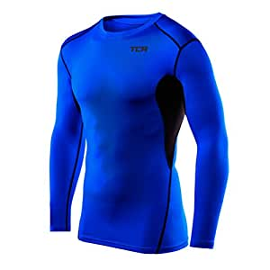 Mens & Boys TCA HyperFusion Compression Base Layer Top Long Sleeve Under Shirt - Blue/Black, 6-8 years (Boys Small)
