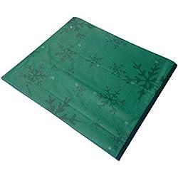 Atenas Home Textile Nöel - Mantel antimanchas de Navidad, 100% algodón, redondo 140 cm, color verde