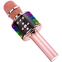 Ankuka Wireless Karaoke Microphones Speaker, 4 in 1 Handheld Portable Bluetooth Home KTV Player, Superior Audio Quality for Singing & Recording, Compatible with Android & iOS (Q78 Rose Gold)