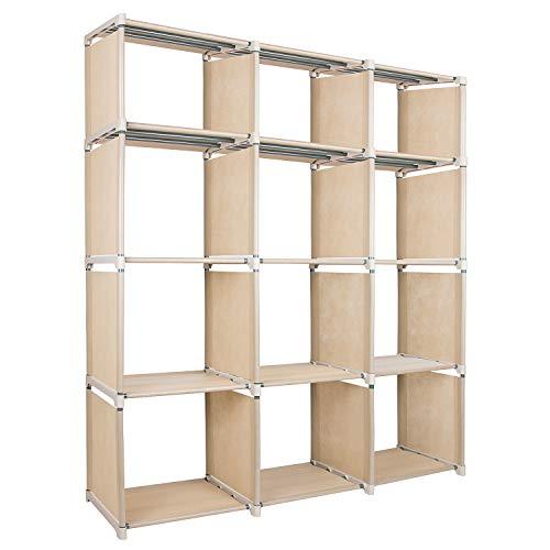 Azadx diy regolabile libreria, libreria cubi portaoggetti unità, home furniture mensola per la camera dei bambini, soggiorno, camera da letto, beige (12 cubi)