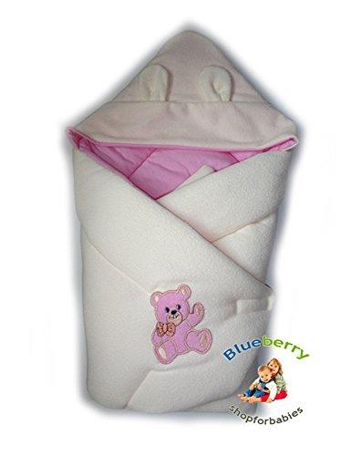BlueberryShop Thermo Frottee mit Kapuze Wickeldecke Schlafsack für Neugeborene, GESCHENK für Baby, 100% Baumwolle, 0-4M ( 0-3m ) ( 78 x 78 cm ) Rosa
