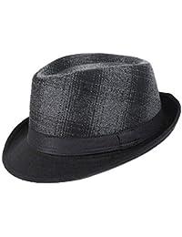 49e8a5cc88c58 AIEOE - Sombrero Hombre Fieltro Panamá Británico Gorro Jazz con Ala Ancha  Hat Caballeros Elegante para