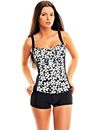 Femme Figure Optimizer/ Push Up tankini avec shorts / Points / flaJ-f4987DH
