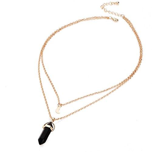 Ba Zha Hei natürlich Stein Kristall Glas Sechseckige Spalte Anhänger Halskette Frauen Multilayer Unregelmäßige Kristall Opale Anhänger Halskette Choker Chain (Schwarz) (Natürlichen Spalte)