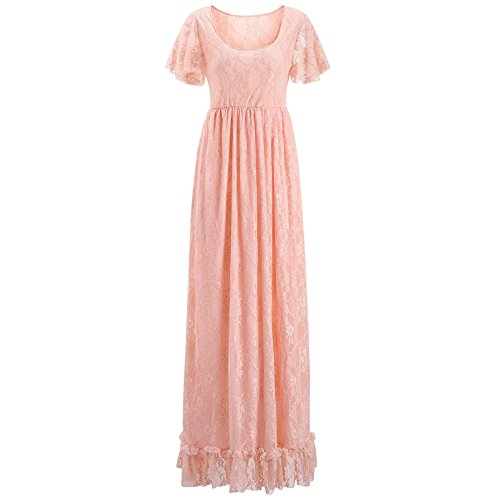 Nilover Langes Damen Kleid, Umstandsmode aus durchsichtiger Spitze, für sexy Fotos, Gr. S-4XL Gr....