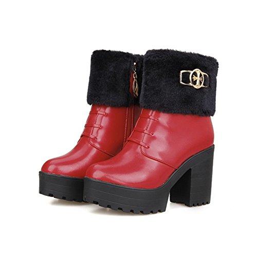 AgooLar Damen Hoher Absatz Weiches Material Knöchel Hohe Rein Reißverschluss Stiefel Rot