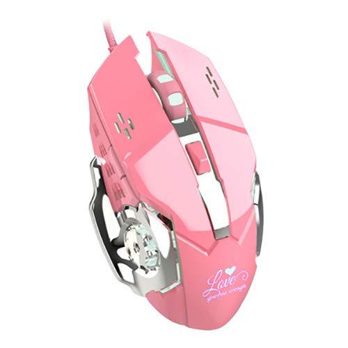 Rosa mouse metallico, 3200 dpi luce bianca gaming mouse non È abbagliante a quattro velocità della luce del motore di metallo peso base design adatto per ufficio giochi