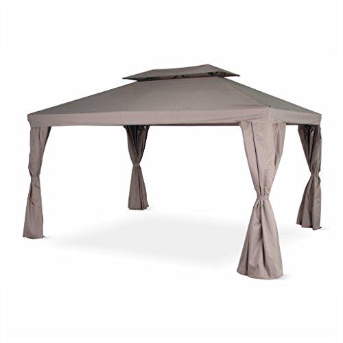 Alice's Garden Pergola Aluminium - Divodorum 3x4m - Toile Taupe - Pergola avec Rideaux, Structure Aluminium