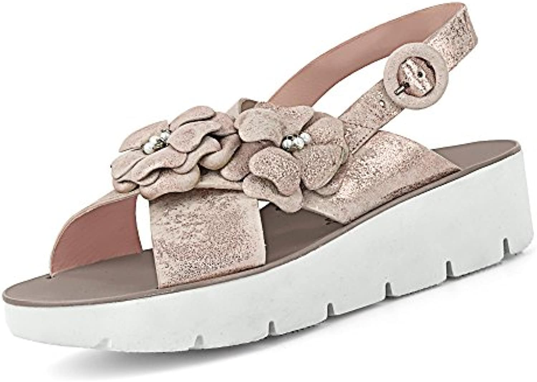Paul Green 7089-002 Damen Sportive Sandale aus Veloursleder im Metallic-Look