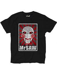 T-Shirt Maglietta Horror Parodia Cult Cinema Saw L'enigmista Grunge