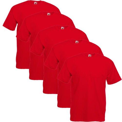 Fruit Of The Loom Original T 5-Pack Logo Men's T-Shirt Rot - Rot