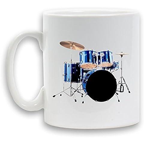 ELECTRIC-KIT tamburo-Tazza in ceramica, 325 ml regalo, motivo: caffè, tè, Contenitore per bevande, colore: bianco