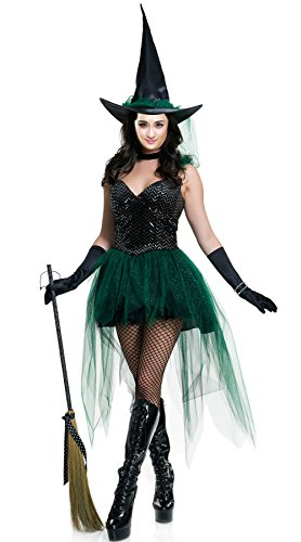 n Enchantress Sexy Hexe Pretty kurzes Kleid Deep V-Neck Stage oder Party Kostüm M (Beängstigend Bild Für Halloween)