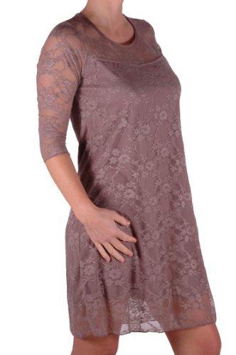EyeCatch - Robe de soirée stretch mi longue motif floral dentelle grandes tailles - Jolene - Femme Moka