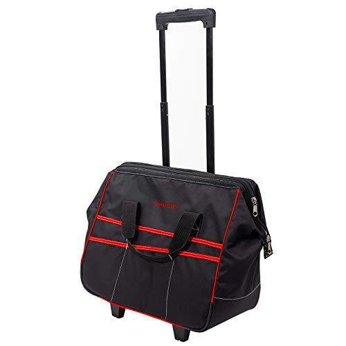 Dawoo Sac à dos pour outil à poignée télescopique, sac à roulettes, sac à roulettes imperméable (rouge et noir)