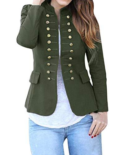 Grün Blazer Jacke (Tomwell Damen Cardigan Elegant Blazer Langärmliger Anzugjacke Einfarbig Blazer Business Slim Fit Bolero Jacke Anzug Armeegrün DE 38)