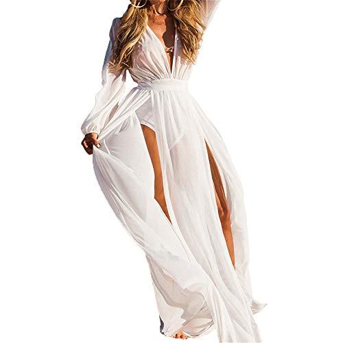 Sheer V-ausschnitt Bluse (Hnks Bikini-Bluse Frauen Sheer Chiffon Bikini V-Ausschnitt Split Lange Maxi Kleid Badeanzug Cover Up Strandkleid Langarm Plunge Sommer Boho Beachwear Badeanzug Bademode)