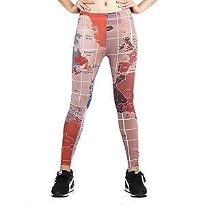 XNRHH Nuevo Diseño De Las Mujeres Mapa Mundial Digital Leggings Impresos Pantalones De Yoga Leggings De Entrenamiento Activo Medias Elásticas Running Pantalones Deportivos