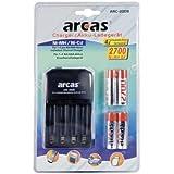 Chargeur Arcas + 4piles rechargeables AA 2700mAh Chargeur de batterie universel stylet
