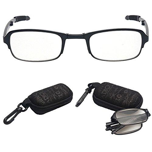1 Paar Faltbare Lesebrille,lala Pink Tragbare Schwarze Kompakte Faltbare Unisex Brille Zum Lesen mit Fall für Herren/Damen,+1.50