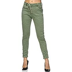 Elara Jeans Femme Boutons Taille Haute Chunkyrayan F6623-3 Olive-40 (L)