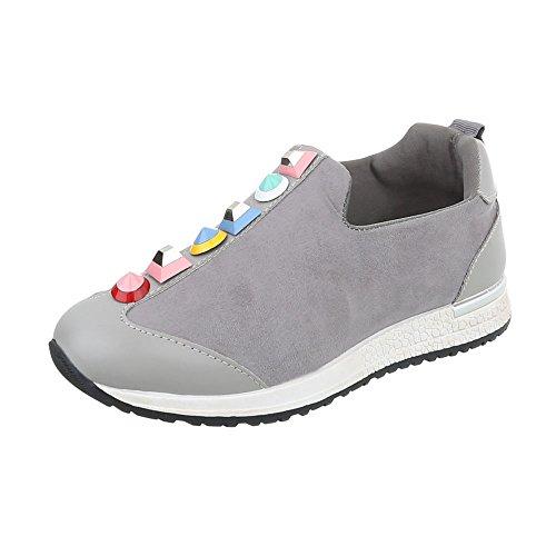 adf9ef0cc14669 Scarpe da Donna Sneaker Piatto Sneakers Low Grigio Taglia 37