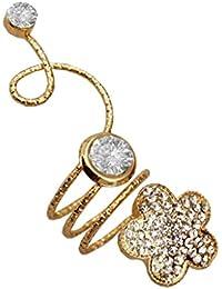 Women Fashion Jewellery Antique & Designer Gold Plated Stone Studded Flower Design Adjustable Spiral Ring
