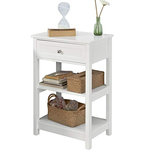 SoBuy® FBT46-W Beistelltisch Nachttisch Couchtisch in weiß mit Einer Schublade und 2 Ablagen BHT ca: 45x68x30cm