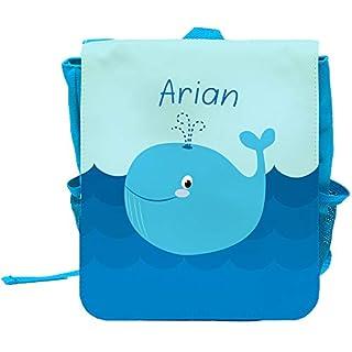 Kinder-Rucksack mit Namen Arian und schönem Motiv mit Blau-Wal für Jungen