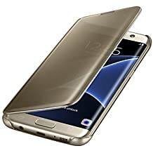 Casos hermosos, cubiertas, caja de cuerpo completo de lujo del diamante de la PU de cuero con el pie de apoyo y ranura para tarjeta para el borde de la galaxia s7 s7 ( Color : Oro , Modelos Compatibles : Galaxy S6 Edge Plus )