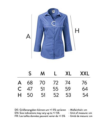 Elegante Damen Bluse Sommer | Zweiteiliger Hemdenkragen 3/4-Arm, Manschetten | 100% Baumwolle | pflegeleicht | bis Größe XXL Blau