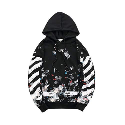 Strickjacken & Sweatshirts Persönlichkeitskleidung Der Männer Schutzkleidung Gezeitenmarke Dünner Hoodie-Mantel Hip-Hop-Kleidung Schwarze Skizze XXL