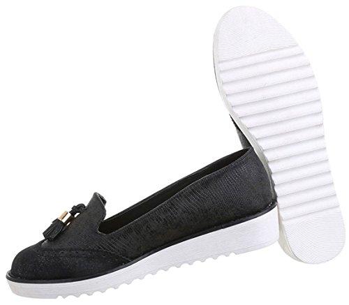 Damen Elfenbein Schwarz Schuhe 36 Halbschuhe 40 38 39 41 Silber Slipper 37 qrqUZxA