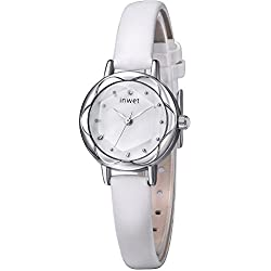 INWET Slim Women's Quartz Watch with Mother of Pearl Dial Analogue Display and Soft White Leather Strap