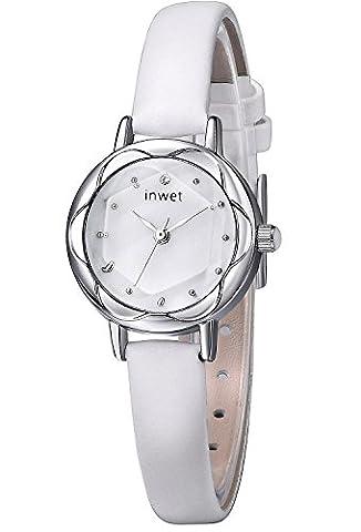 Inwet Blanc Cuir Montre à Quartz pour Femmes - Nouveaux Fashion Montre Bracelets, Blanc