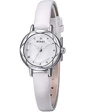 INWET Damen Armbanduhr mit Perlmutt Zifferblatt Analoge Anzeigen und Weiß Leder Armband