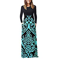 Women O-Neck Long Sleeve Maxi Dress ❀ Ladies Floral Printed Solid Loose Tank Party Long Dress
