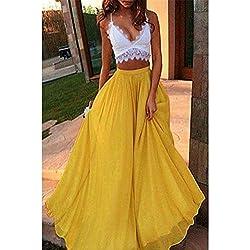 Hoverwin Mujeres Gasa Retro Largo Falda Bohemia Dobladillo Grande Chiffon Skirt, Color Sólido Falda Midi Faldas de Gasa (S, Amarillo)