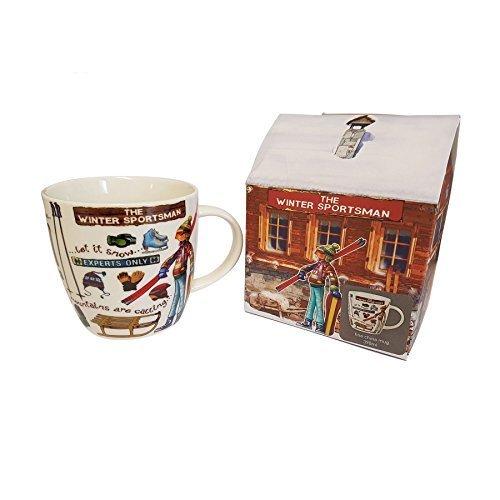 SPORT HIVER SKI SNOWBOARD Tasse en porcelaine fine tasse pot cadeau neuf avec boîte de présentation