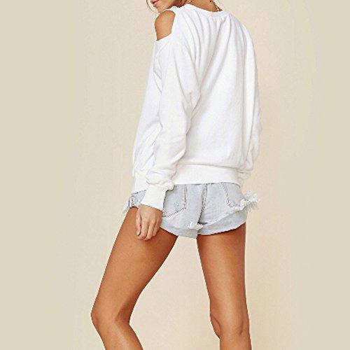 Topgrowth Maglietta Donna Maniche Lunghe Eleganti Spalla Basic Tinta Unita Casual T-shirt Moda Svuotare Bianca Felpa Pullover Top Bianca